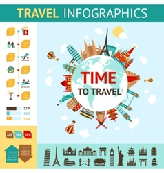 Travel Infographics Set vector image vector image