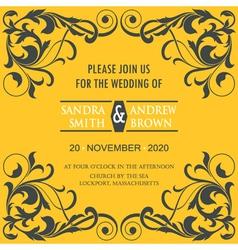 Wedding vintage invitation card vector image vector image