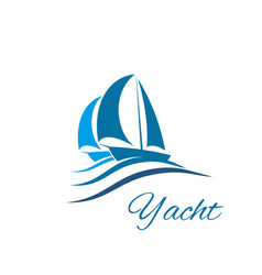 yacht boat wave icon for sport sail travel club vector image