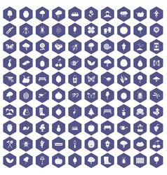 100 gardening icons hexagon purple vector