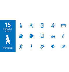 15 running icons vector