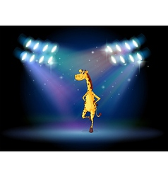 A giraffe dancing on the stage with spotlights vector