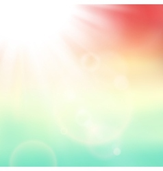 abstract background with summer sun and lens vector image