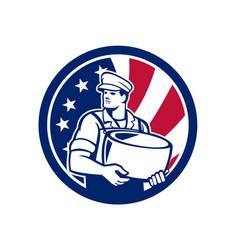 American artisan cheese maker usa flag icon vector