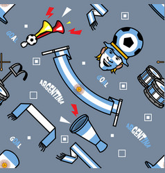 Argentina soccer supporter gear seamless pattern vector