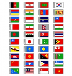 Asian flags collection vector