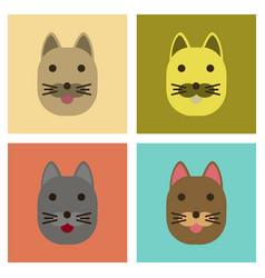 Assembly flat icons cartoon cat vector