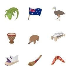 Australia icons set cartoon style vector