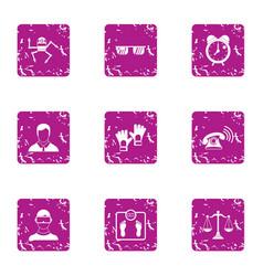 Auto machine icons set grunge style vector