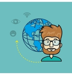 avatar man with planet and media and network icons vector image