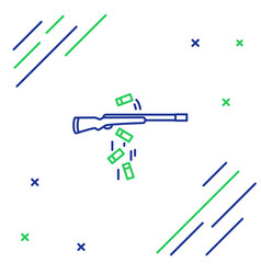 Blue and green line gun shooting icon isolated on vector