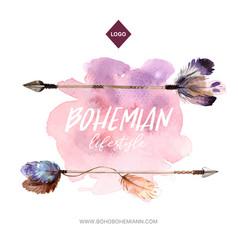 Bohemian wreath design with arrow feather vector