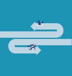 Business team running opposite direction concept vector