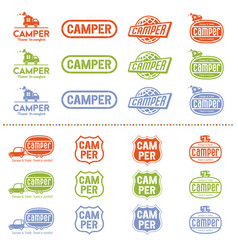 Camper logo set vector
