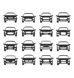 car front view black icon set transportation vector image