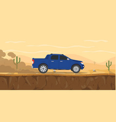 Car pickup truck on the desert road with cactus vector
