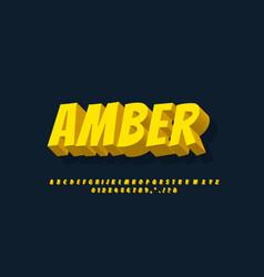 Cartoon alphabet 3d light yellow text effect vector