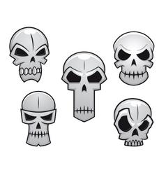 cartoon skulls set with danger emotions vector image