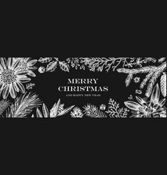 Christmas banner design on chalkboard frame vector