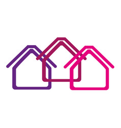 Colorful abstract silhouette houses icon vector