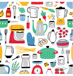 Colorful seamless pattern with cooking tools on vector