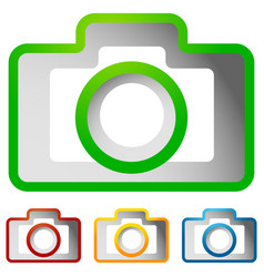 compact - hobby photo camera icon in green red vector image