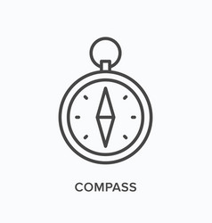 compass flat line icon outline vector image