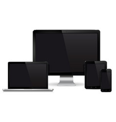 Computer display laptop tablet pc mobile phone vector