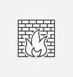 Computer firewall concept icon in outline vector