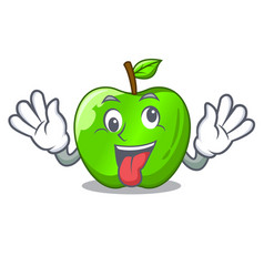 Crazy green smith apple isolated on cartoon vector