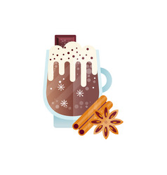 cup of chilled coffee drink with whipped milk foam vector image
