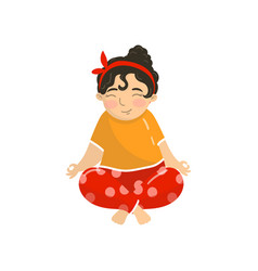 Cute beautiful girl sitting in lotus position and vector