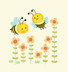 cute bees flying over yellow flowers vector image