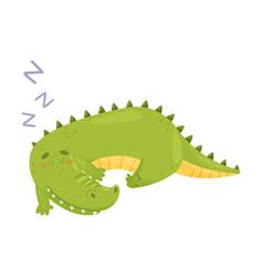 Cute crocodile is sleeping vector