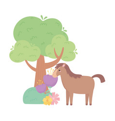 Cute horse flowers tree grass cartoon animals in a vector