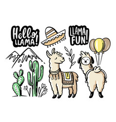 cute lama doodle set with lettering vector image