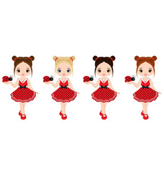 cute little girls with ladybugs vector image