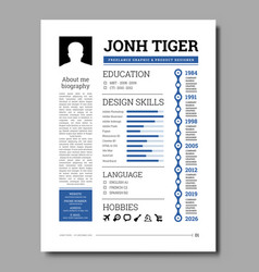 Cv resume template with a timeline work vector