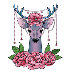 Deer and peonies pattern vector