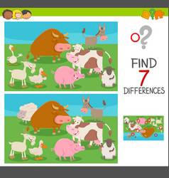 differences game for kids with farm animals vector image