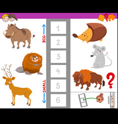 Educational task with large and small animals vector