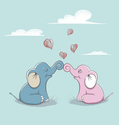 elephants love each other vector image