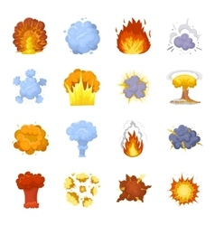 Explosions set icons in cartoon style Big vector image