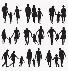 family 1 silhouettes vector image