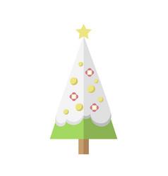 flat decorated mini cartoon christmas snowy tree vector image