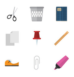 Flat icon equipment set of trashcan sticky vector