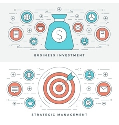 Flat line Strategic Management and Investment vector