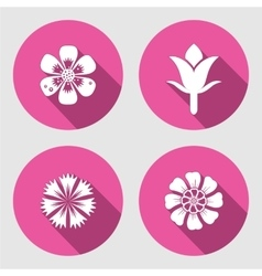 Flower icons set Chamomile daisy blue poppy vector