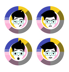 four different emotions of young male character vector image