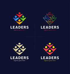 four human group with leader or boss icon logo vector image